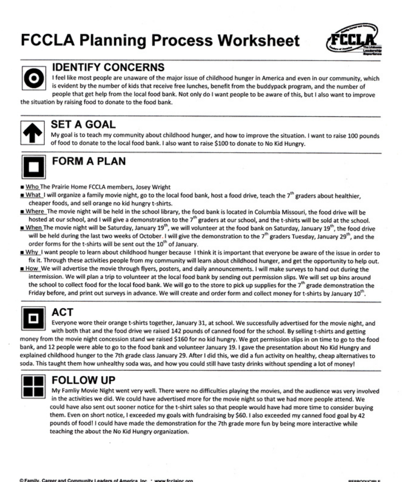 FCCLA Planning Process Summary Page - Prairie Home High School FCCLA